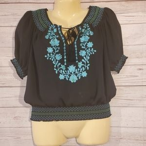 New York & Co Black Embroidered Blouse